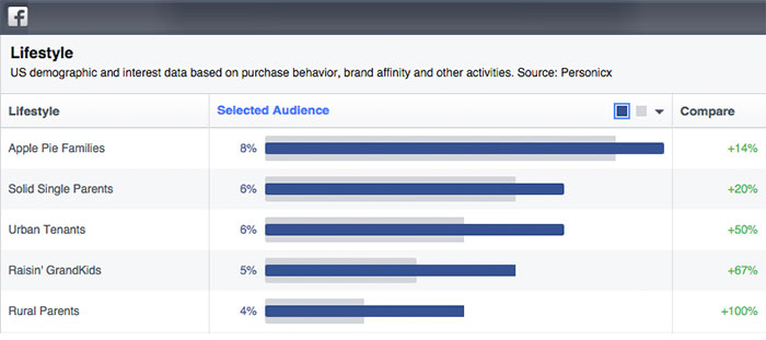 Facebook and Twitter Audience Insights showing the top segments for the community
