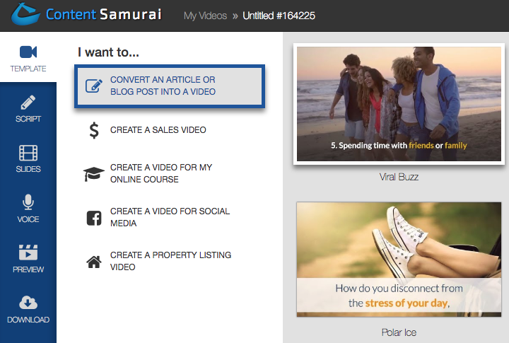 Content Samurai start screen