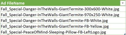 Excel Trackable URL Generator filenames