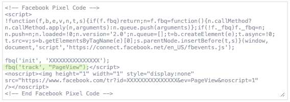 The base code snippet for the Facebook Pixel