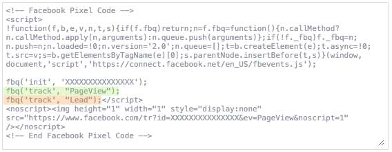 The base Facebook Pixel code snippet with the Lead standard event added