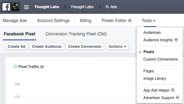 The Pixels view in the Facebook Ad Manager
