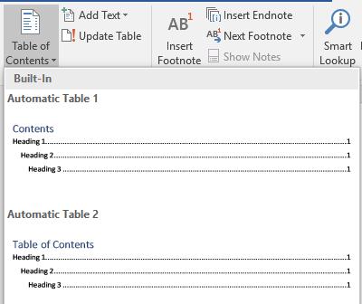 Microsoft Word TOC WIzard