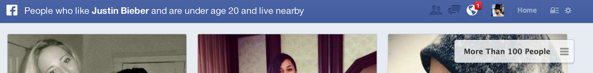 Facebook Graph Search results showing results of searching for women under 20 that live nearby
