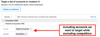 targeting specific accounts while excluding our competitors