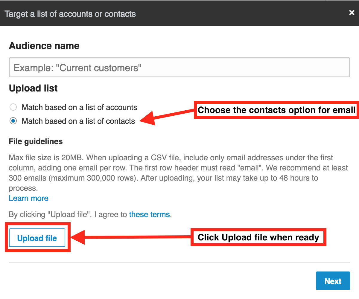 LinkedIn matched audiences popup dialog to choose contacts or accounts