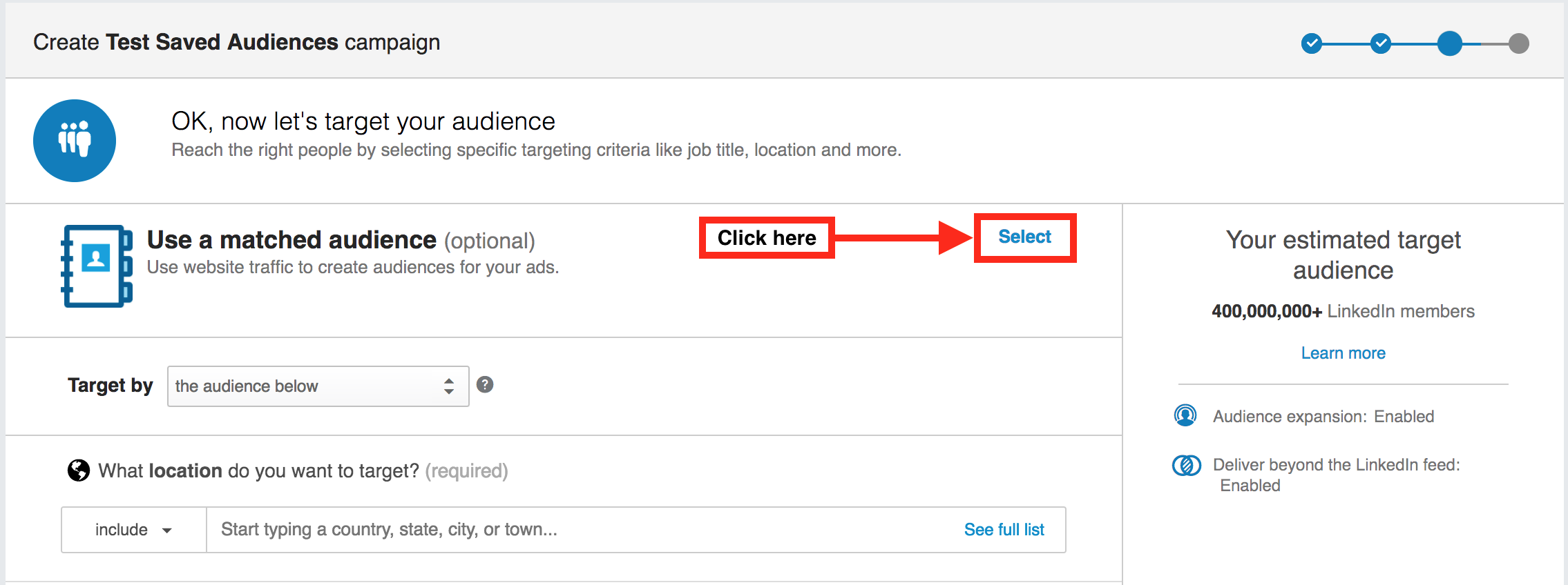 Selecting a matched audience from within a LinkedIn advertising campaign
