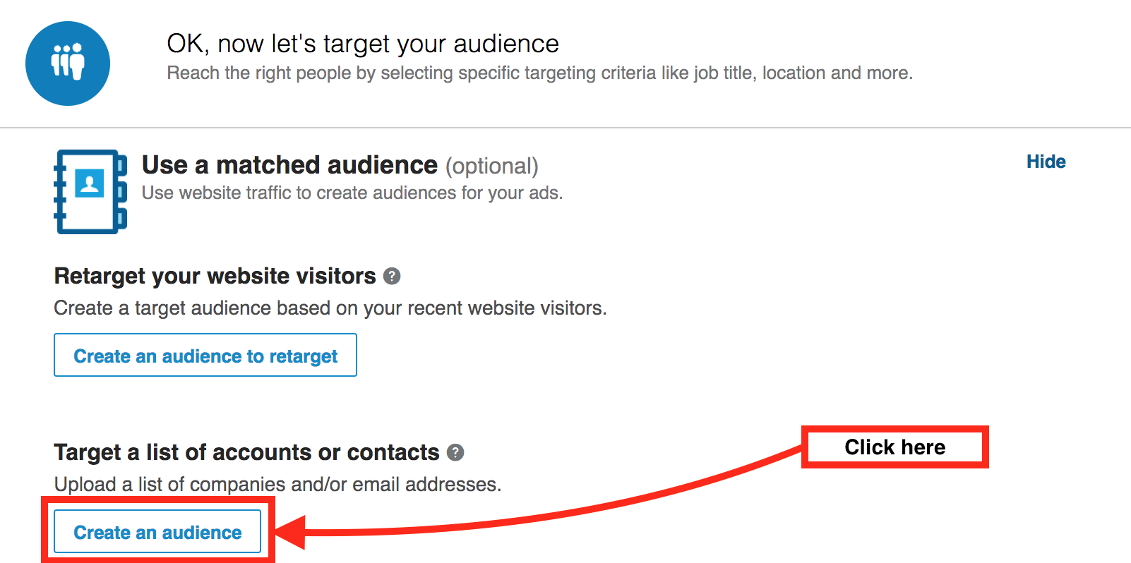 create an audience button within a LinkedIn advertising campaign