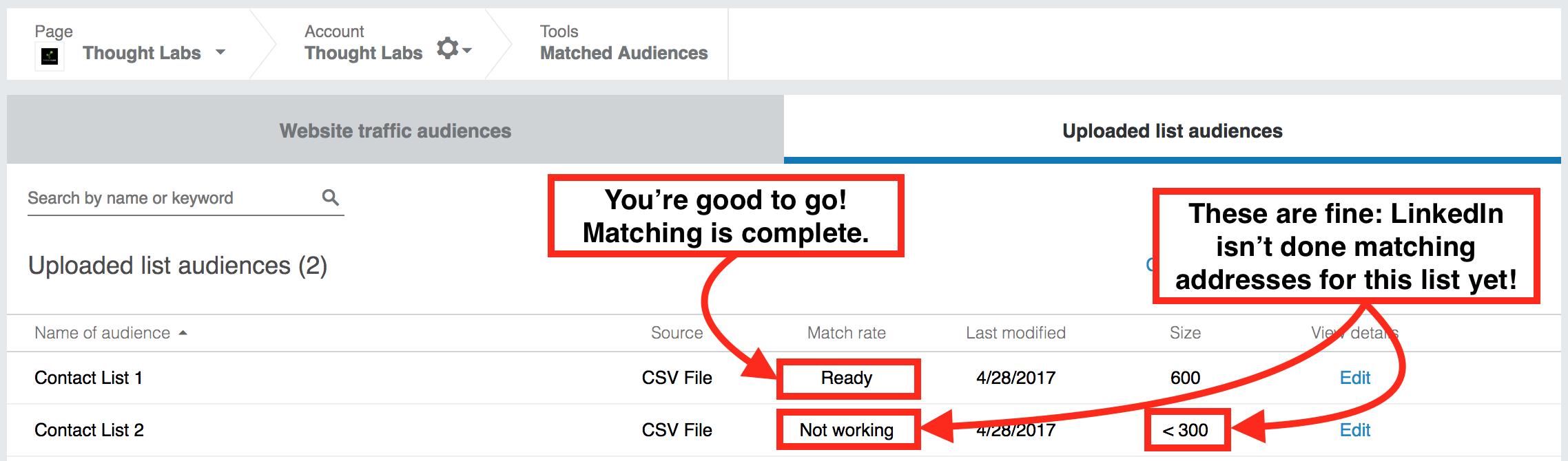 LinkedIn matched audience verification list