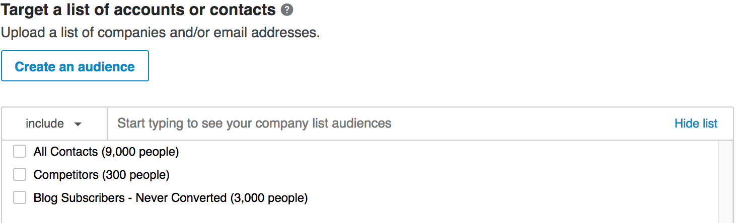 creating lists of combined matched audiences to target in a campaign