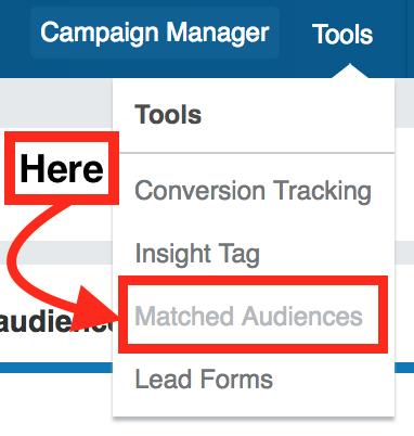 LinkedIn matched audiences top navigation menu