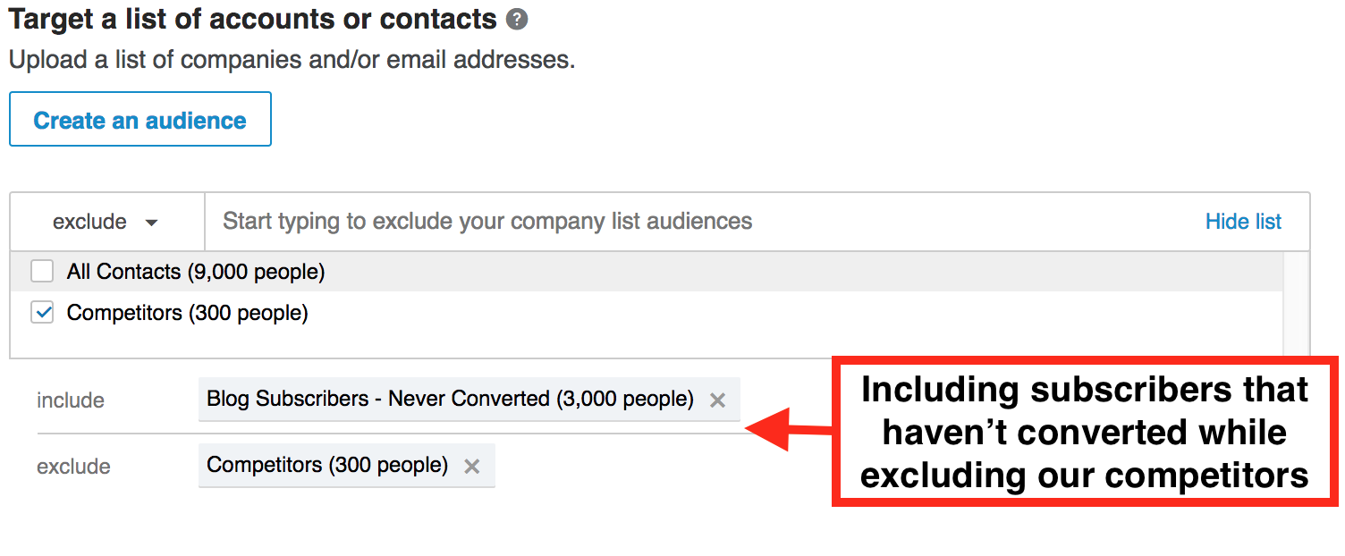targeting blog subscribers that haven't taken an action on our site while excluding our competitors