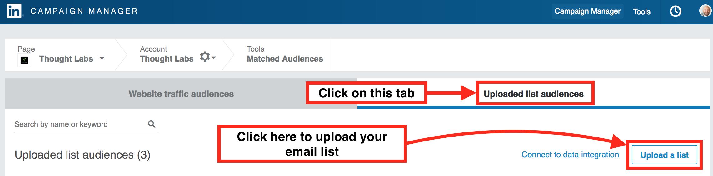 LinkedIn matched audiences upload list audiences tab